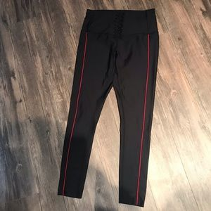 Zella Black with red trim lace front leggings Med